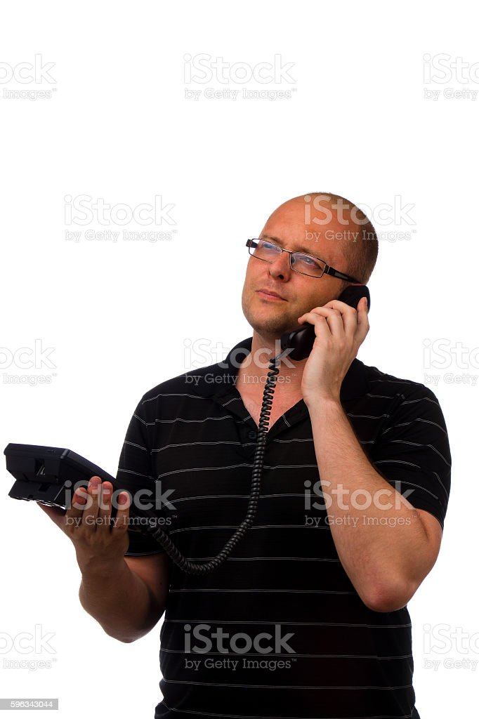 Hortrait of middle aged man in casual black shirt talking royalty-free stock photo