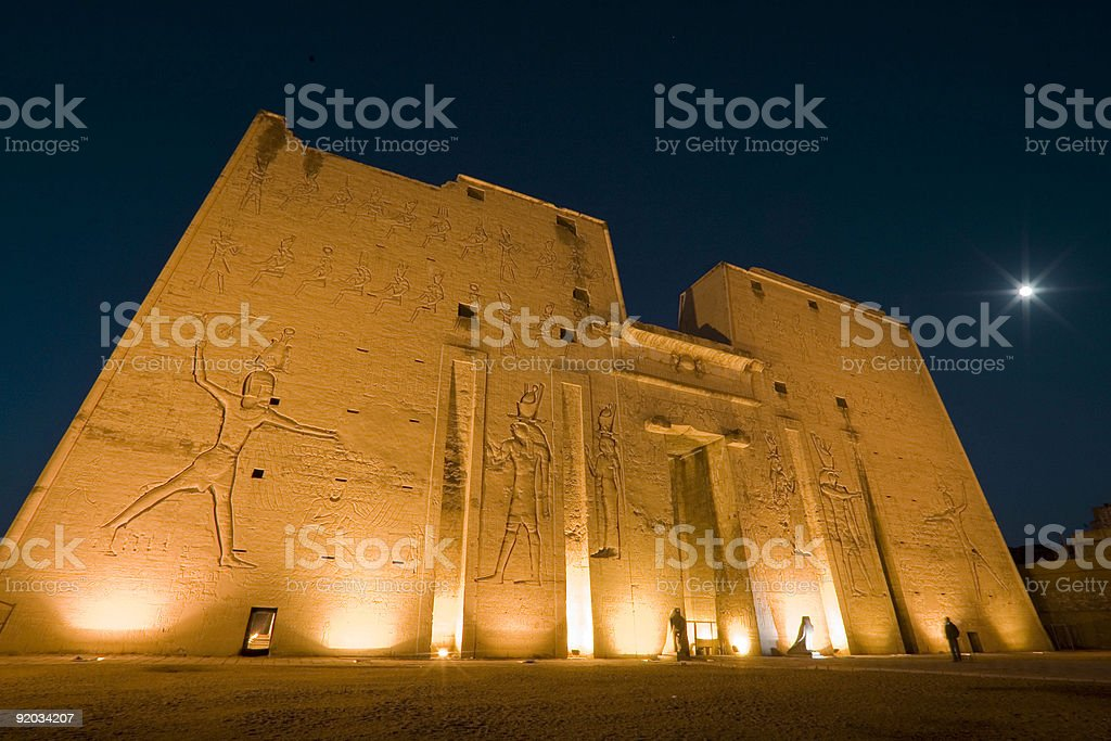 Horus Temple at night stock photo