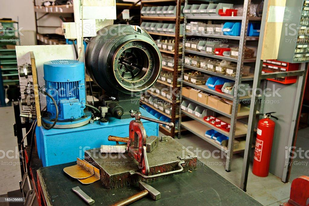Hose crimping machine stock photo