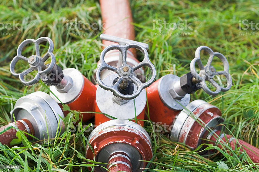 Válvulas de manguera de incendios equipo. - foto de stock