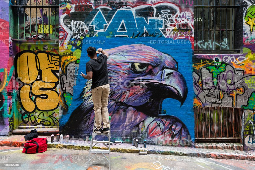 Hosier Lane in Melbourne, Australia stock photo