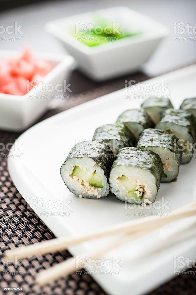 parhaiten myydä myynti verkossa 50% hinta Hosomaki Sushi Kappa Hosomaki On A Dish Stock Photo ...