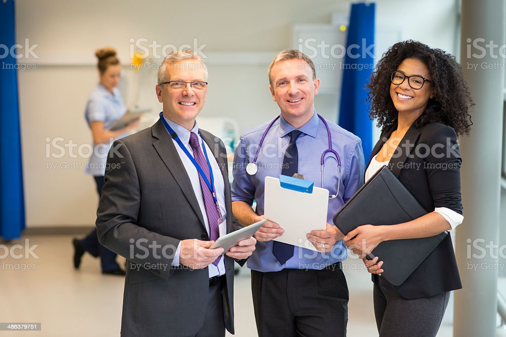 hospital administrator team stock photo