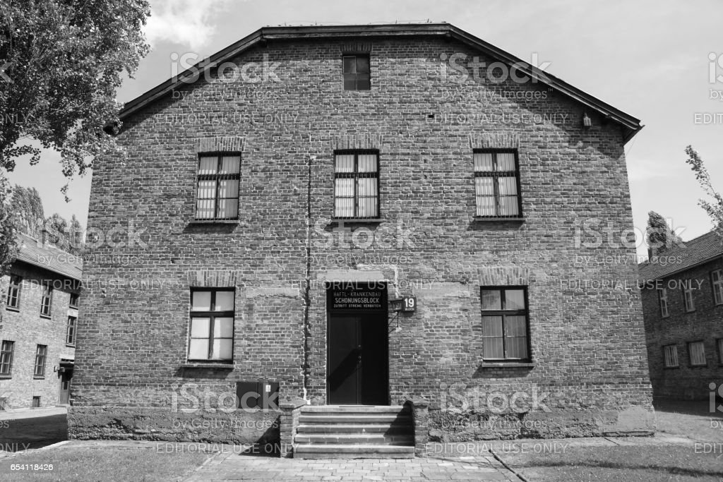 Hospital barrack at Auschwitz concentration camp stock photo