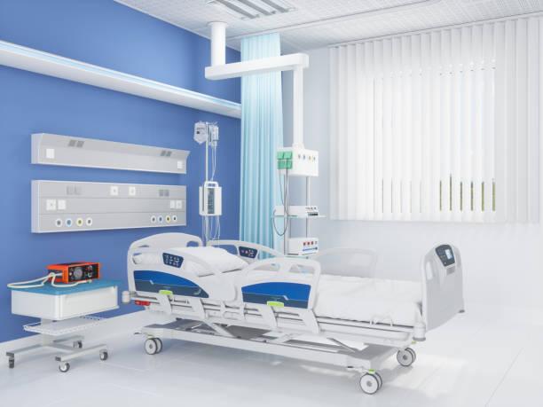 Krankenhausbett mit medizinischer Ausrüstung im Krankenhauszimmer – Foto