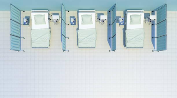 ziekenhuisbedden cabine bovenaanzicht - ventilator bed stockfoto's en -beelden