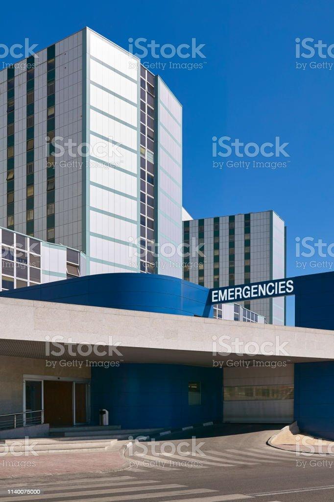 Hospital building emergency entrance. Medical center exterior. Health...