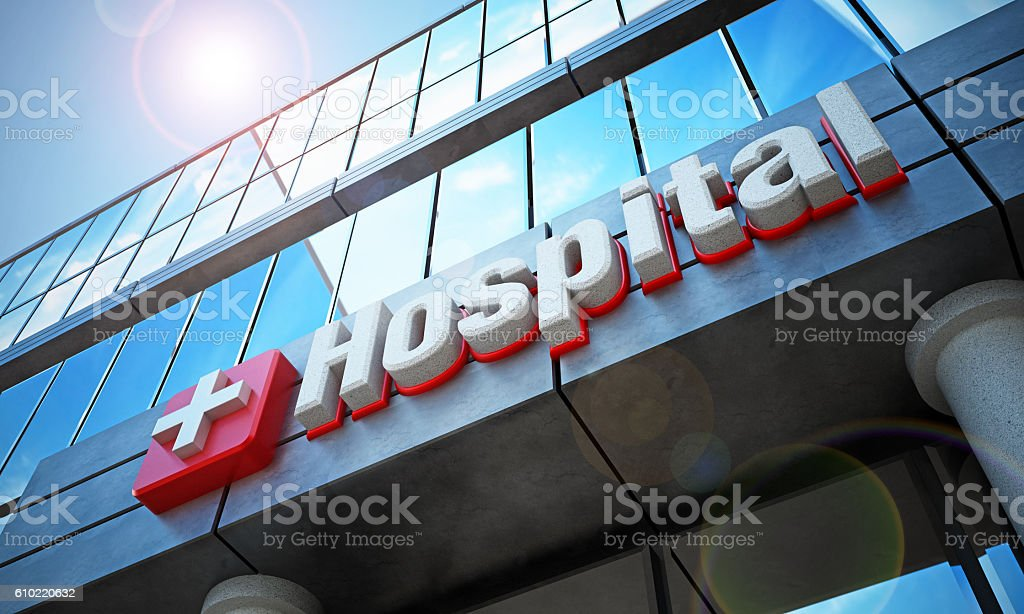 Hospital building exterior and hospital sign - foto de stock