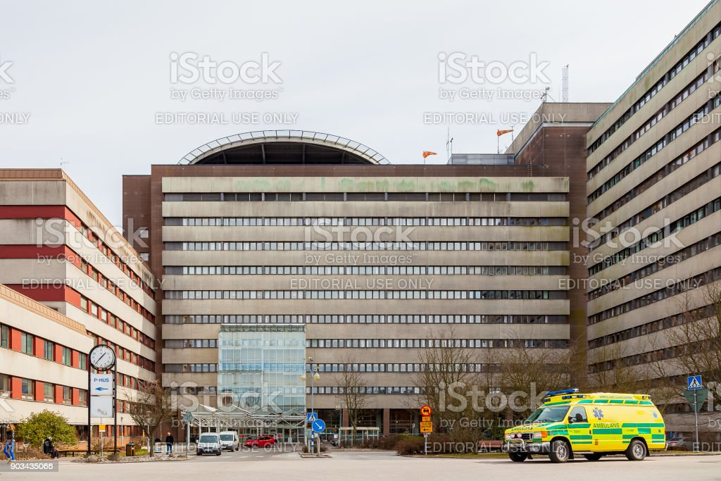 Hospital building in Lund Sweden. stock photo