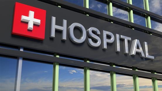 Edificio Primer Plano Muestra Con Cielo Que Se Refleja En El Cristal Del Hospital Foto de stock y más banco de imágenes de Accidentes y desastres
