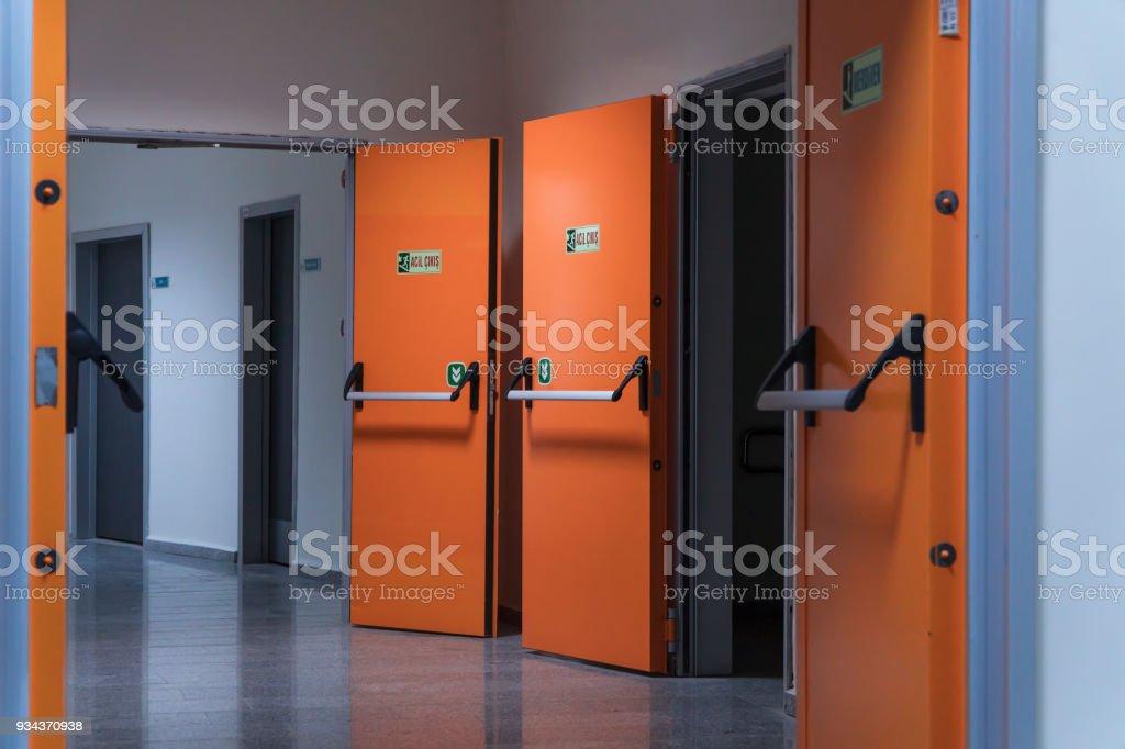 Hospital corridor and doctor with entrance doors royalty-free stock photo & Hospital Corridor And Doctor With Entrance Doors Stock Photo u0026 More ...