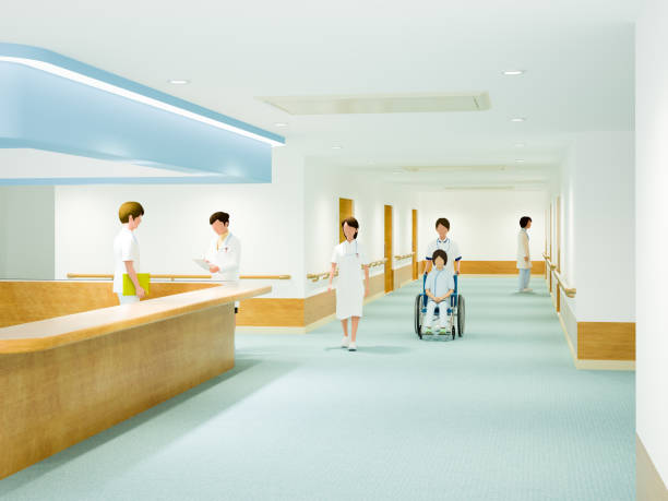 hospital corridor - biomedical illustration stock pictures, royalty-free photos & images