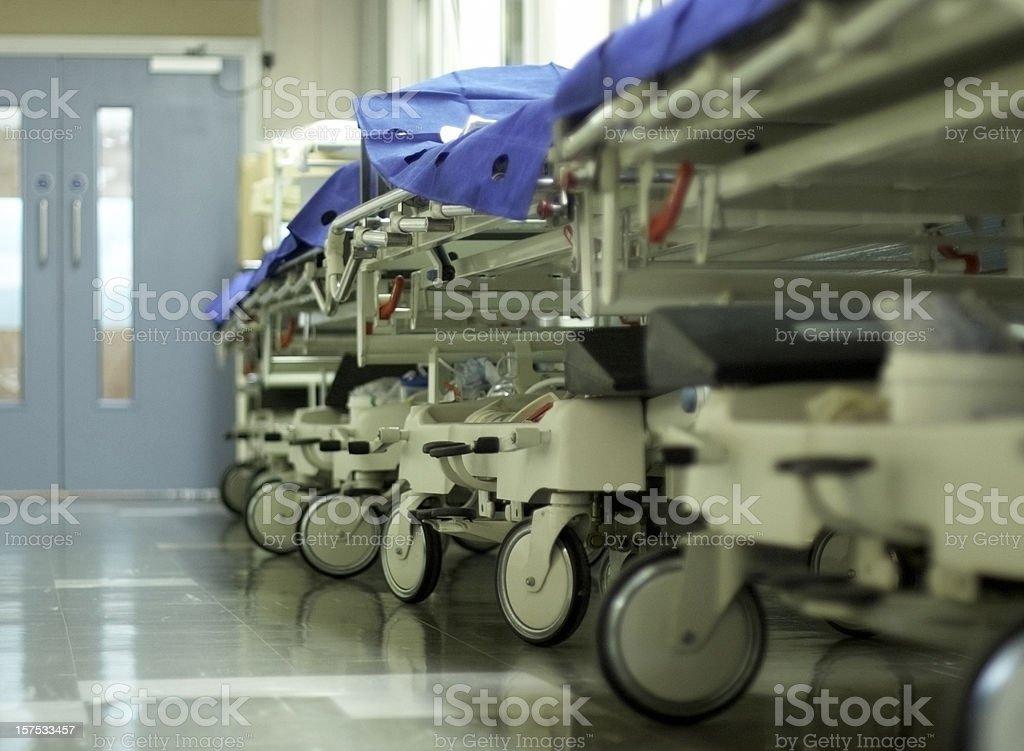 Hospital corridor with gurneys stock photo
