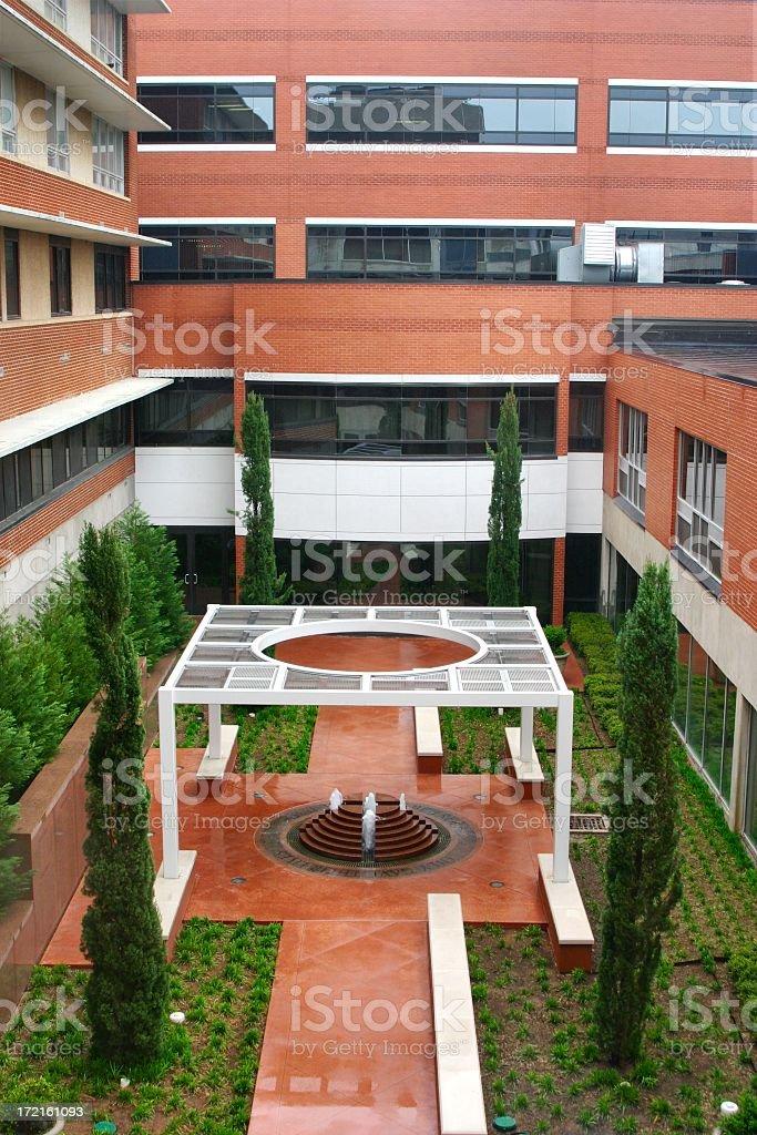 Hospital Courtyard with fountain stock photo