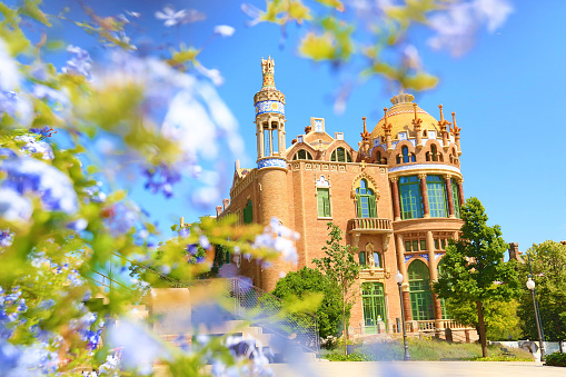 Hospital de Sant Pau with blooming flowers