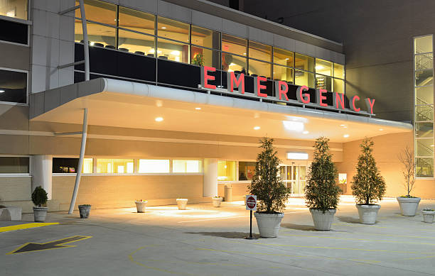 hospital emergency room entrance - building entrance stock photos and pictures