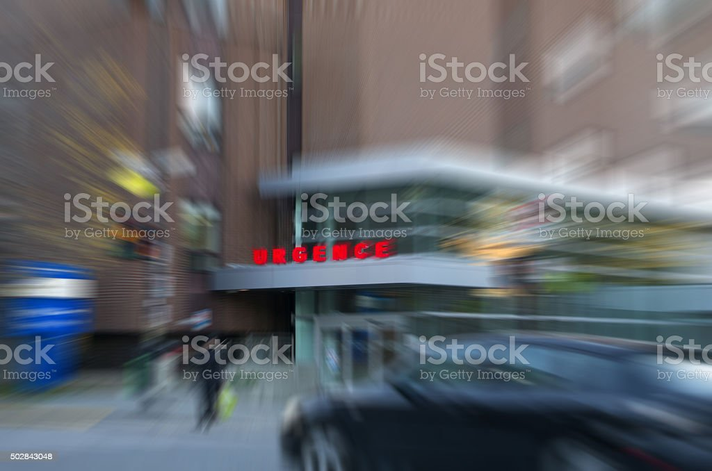 Hospital emergency sign in French with motion blur effect stock photo