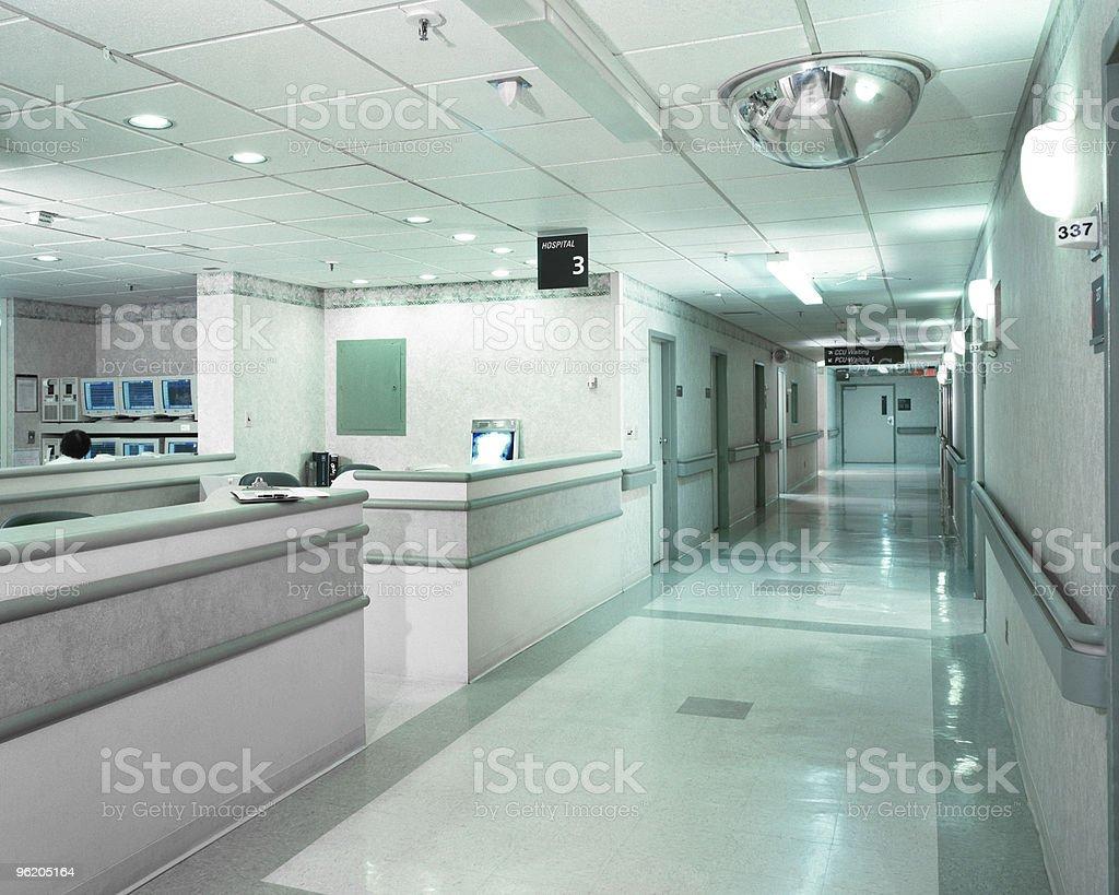 Hospital hallway and desk in New York City stock photo