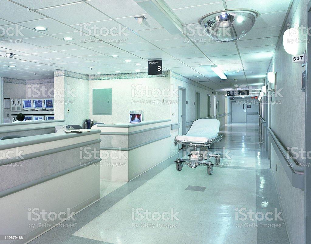 Hospital Hallway with Gurney stock photo