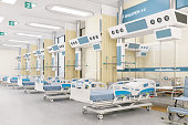 Interior of an empty intensive care unit.