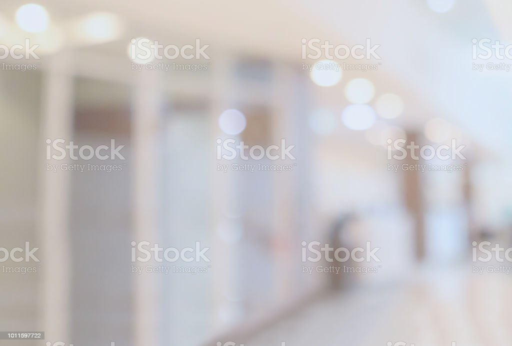 Krankenhaus-Luxus-Klinik-Innenraum verschwimmen defokussierten medizinischen Hintergrund mit Bokeh Licht – Foto