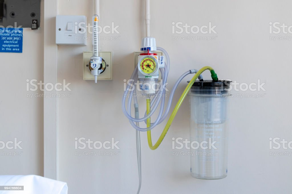 Hospital medical gas supply mounted to a ward wall