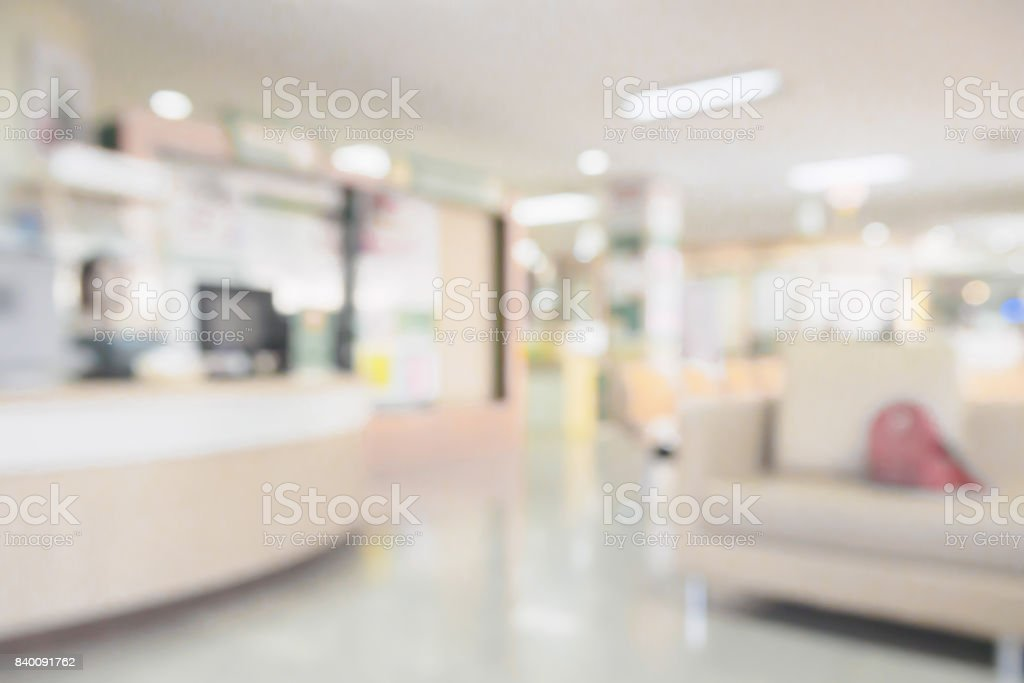 hospital medical interior blurred background stock photo