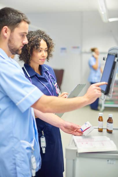 hospital meds trolley - prescription meds stock pictures, royalty-free photos & images