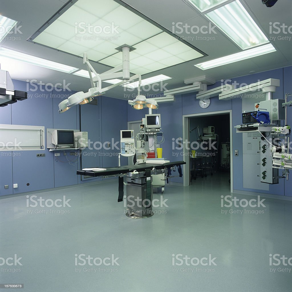 Hospital operating room with ceiling lamps stock photo