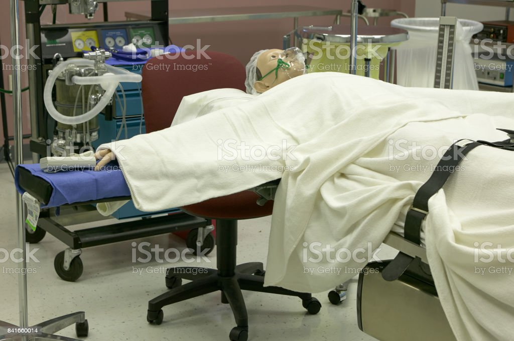 Hospital operation training room and manikin stock photo