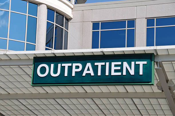 Hospital Outpatient Entrance Sign Outpatient Sign over a Hospital Outpatient Services Entrance outpatient stock pictures, royalty-free photos & images