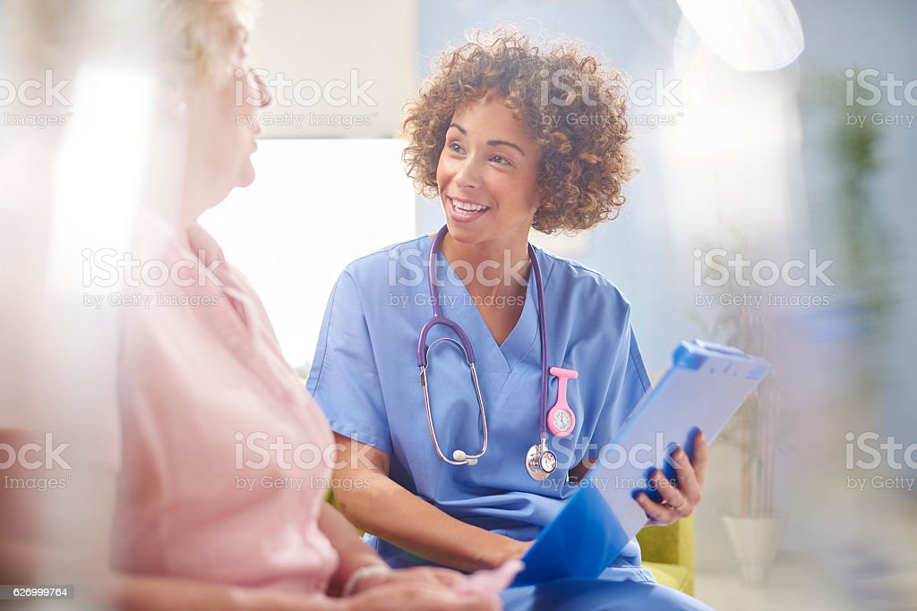 hospital patient consultation stock photo