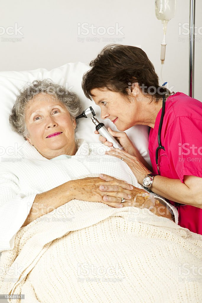 Hospital Patient Ear Check royalty-free stock photo