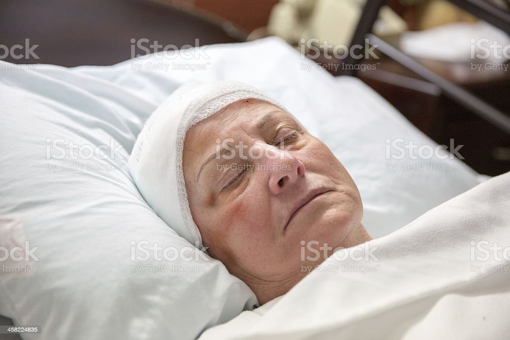 Hospital patient sleeping stock photo