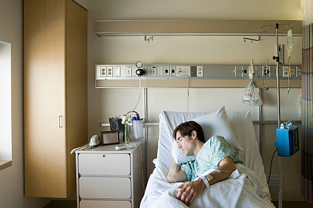 Hospital patient sleeping stok fotoğrafı
