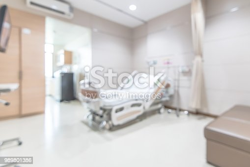 1127202747 istock photo Hospital patient ward or ICU intensive care unit blur background with blurry medical empty bed room interior for nursing care and health treatment service backdrop 989801386
