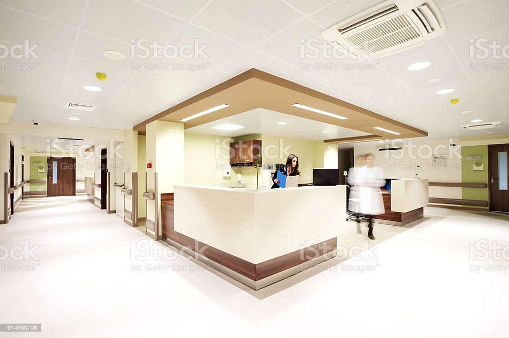 hospital reception corridor stock photo