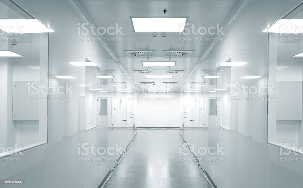 Hospital research lab corridor stock photo