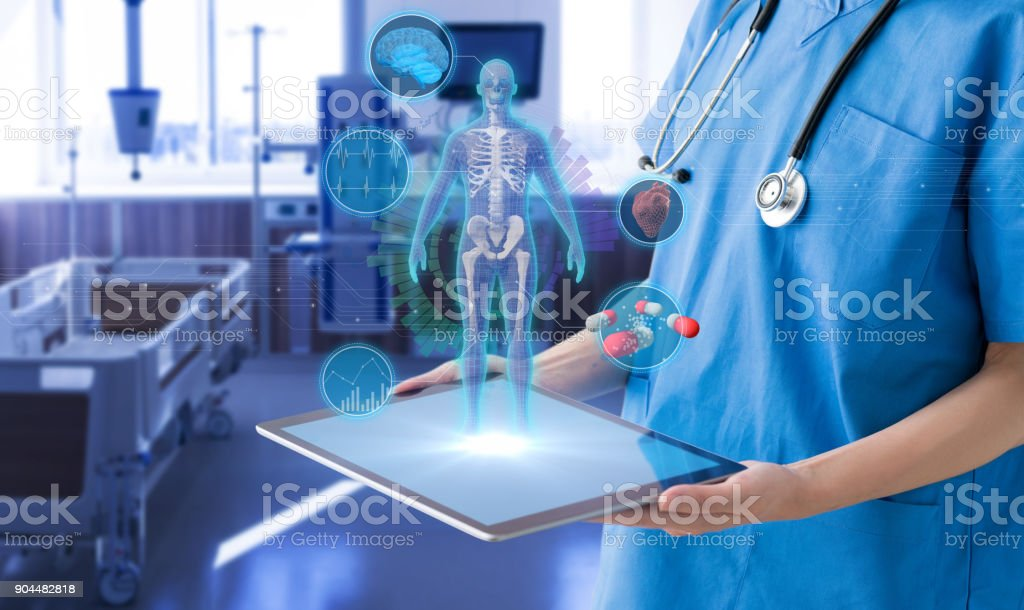 Hospital room and medical technology concept. stock photo