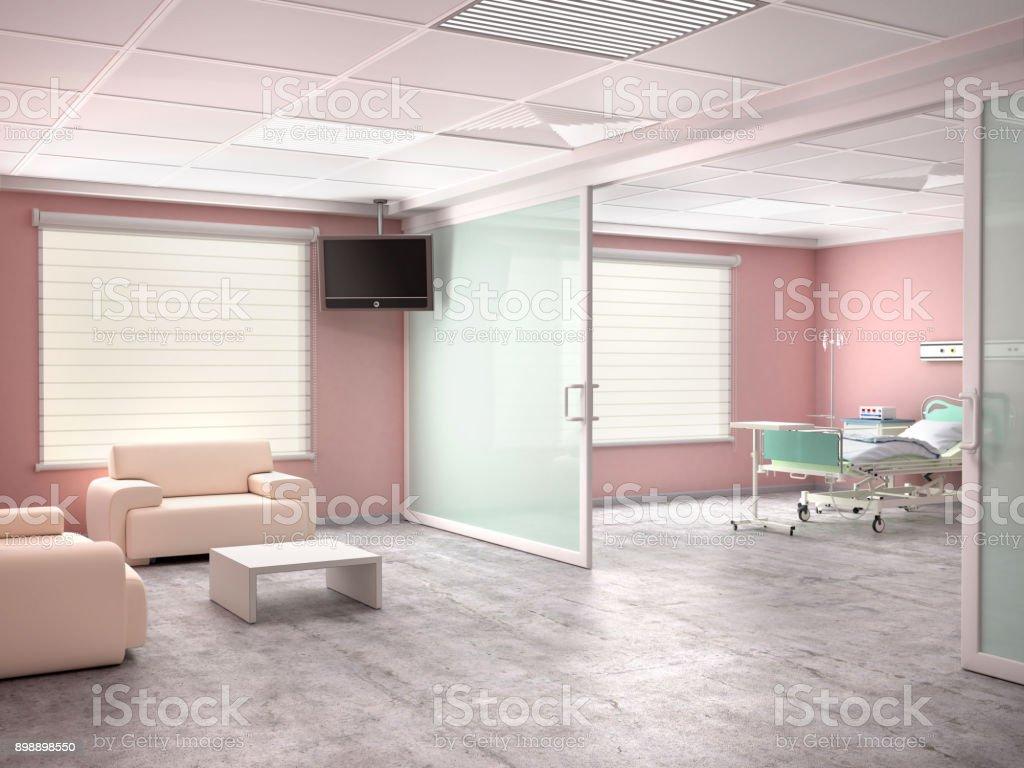 Zimmer mit einem Bett und Zimmer zu besuchen im Krankenhaus – Foto