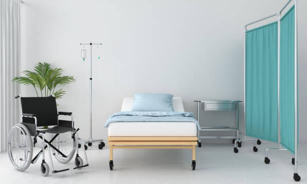 病室ベッドとテーブル、3 d レンダリング - 病棟 ストックフォトと画像