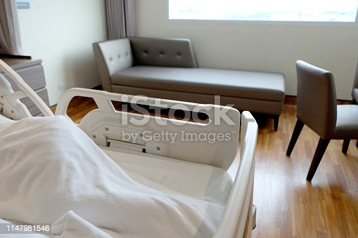 629429900istockphoto Hospital room with beds and comfortable medical background 1147981546
