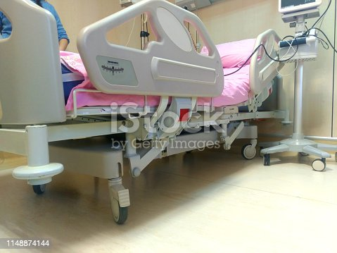 istock Hospital room with beds and comfortable medical equipped in a modern hospital .Bedroom for patient in a hospital. White cream room design. Brown curtain . Modern and comfortable equipped hospital room . 1148874144