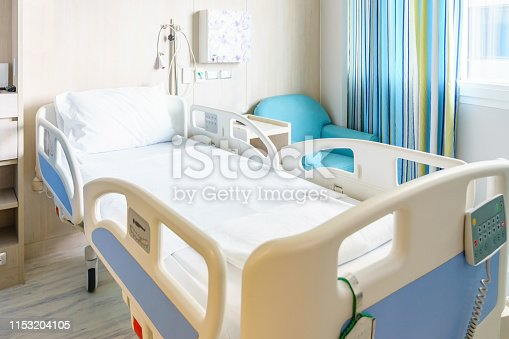 istock Hospital room with beds and comfortable medical equipped in a modern hospital 1153204105