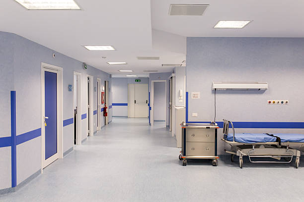 Hospital room with beds stock photo