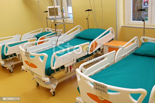 istock Hospital room with medical bed 862865210