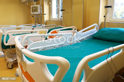 istock Hospital room with medical bed 862871432