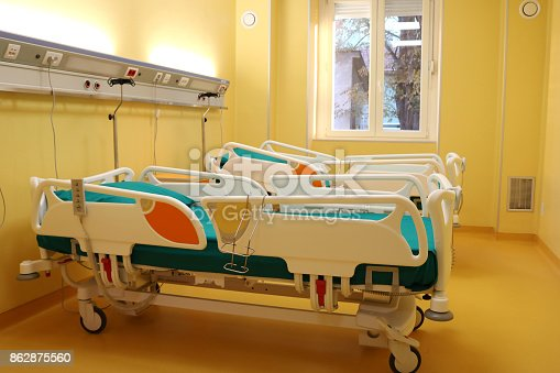 istock Hospital room with medical bed 862875560