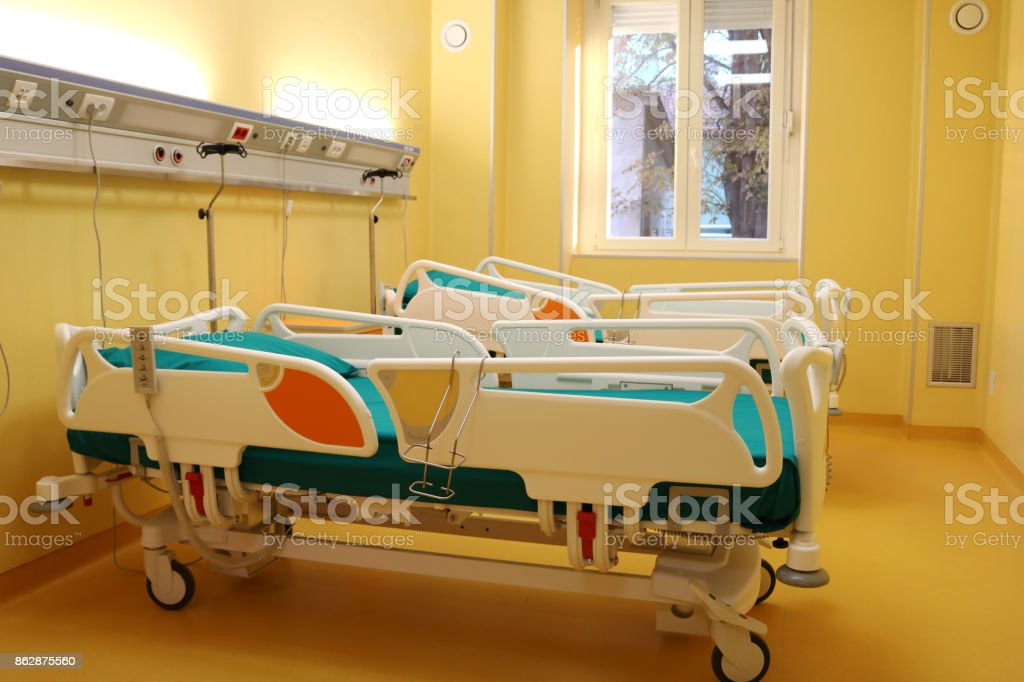 Hospital room with medical bed stock photo