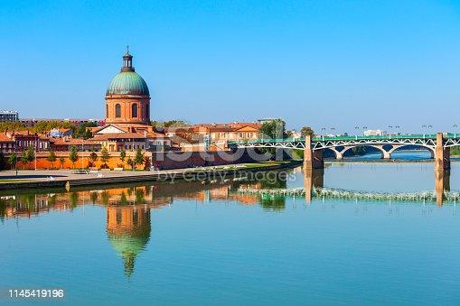Chapel of hospital Saint Joseph de la Grave and Garonne river embankment in Toulouse city in France